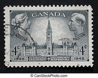 Vintage Canadian postage stamp with Victoria and George -...