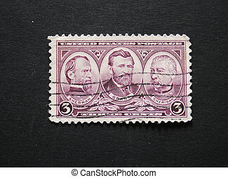 Old postage stamp with Grant, Sherman and Sheridan