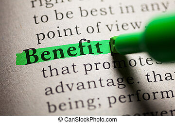 Benefit - Fake Dictionary, definition of the word Benefit