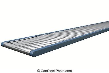 Roller Conveyor - A regular empty roller conveyor on an...