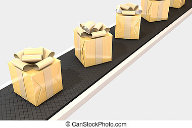Golden Wrapped Gift Box On Conveyor - A row of wrapped gift...