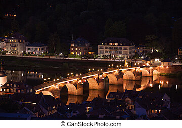 Alte Brucke bridge in Heidelberg during night - Panorama...