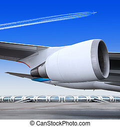 plane turbine - turbine of big passenger plane that waiting...