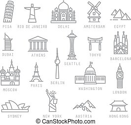 City flat icons - City icons in flat style with names Pisa,...