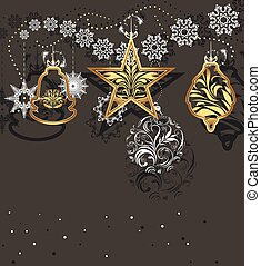 Shining Christmas toys and tinsel isolated on a dark gray...