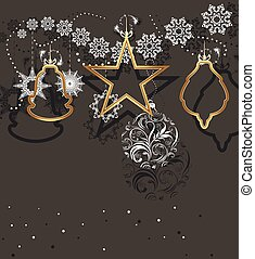 Christmas toys and tinsel isolated on a dark gray...