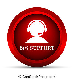 24-7 Support icon Internet button on white background