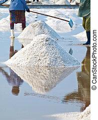 Salt field - Farmer raking in the salt field in Thailand