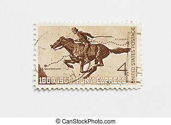 Hundred years Pony Express - Vintage usa postage stamp of...