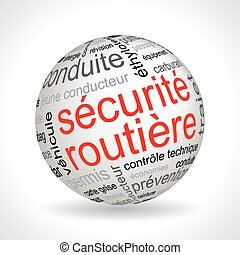 French road safety theme sphere with keywords full vector