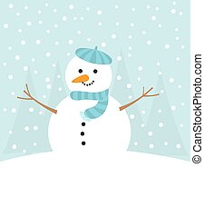 Cute snowman in winter
