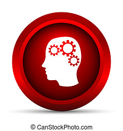 Brain icon Internet button on white background