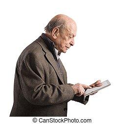Old man surfing internet