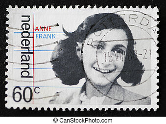 Dutch Stamp With Image Of Anne Frank - Close-up of a Dutch...