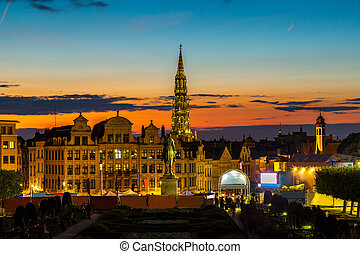 Brussels city center - Sunset in Brussels city center at...