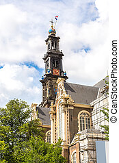 Westerkerk in Amsterdam Netherlands in a summer day