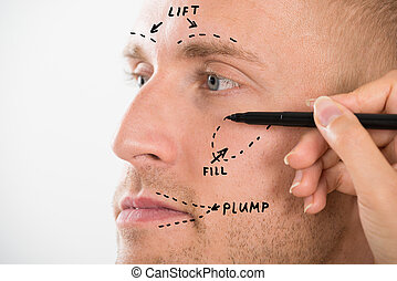 Man's Face With Correction Line Drawn By Person's Hand -...