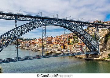 Dom Luis I bridge in Porto in Portugal in a summer day