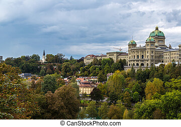 Federal palace of Switzerland in Bern in a summer day in...