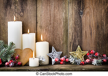 Christmas Advent candles with festive decor