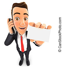 3d businessman on the phone and holds blank card, isolated...