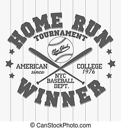 Baseball emblem - graphics for t-shirt, Vector Lettering...