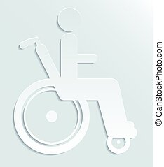 Icon disabled person in wheelchair - White paper icon...