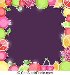 Fresh Fruits in Square Frame Dark Violet Vector Invitation...