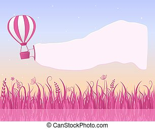 Hot Air Balloon Flying in Sky with Banner Copy Space in the...