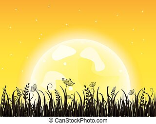 grass-meadow-yellow - Huge yellow moon with dark grass...