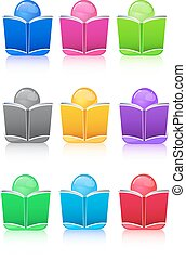 Set of Icon People with Colorful Book Sign