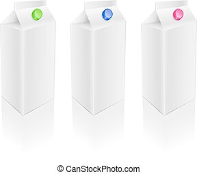 Blank white milk pack set - Blank white milk juice packages...