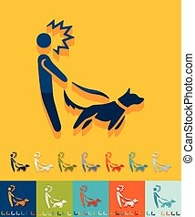 Flat design. walking the dog - walking the dog icon in flat...