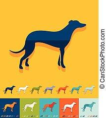 Flat design greyhound - greyhound icon in flat design with...