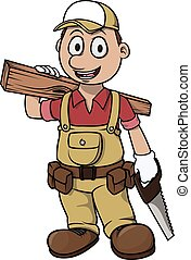 Carpenter boy cartoon illustration design