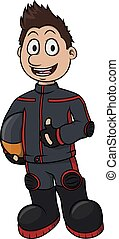 Racer boy cartoon illustration design