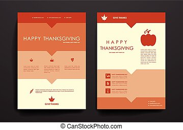 Set of brochure, poster design templates in autumn style -...