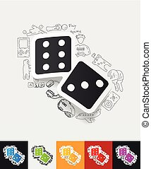 dice paper sticker with hand drawn elements - hand drawn...