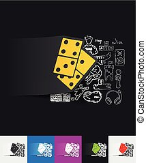 domino paper sticker with hand drawn elements - hand drawn...