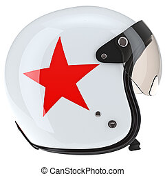 Motorcycle helmet with red asterisks, side view