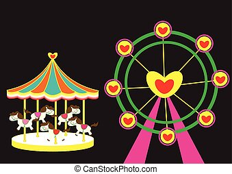 Carousel horse and Ferris wheel of love