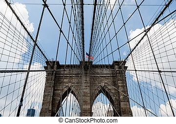 Brooklyn Bridge, New York, USA - The Brooklyn Bridge is a...