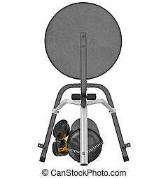 Boxing stand with punching bag, top view
