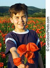 Boy offering a bunch of poppy flowers