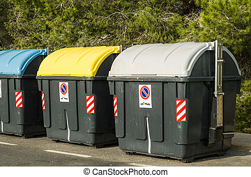 Recycling containers - Containers in different colors to...