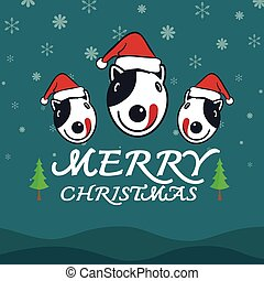 Vector merry christmas greeting dog card on white background