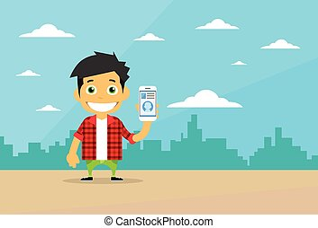 Cartoon Casual Man Character Using Cell Smart Phone