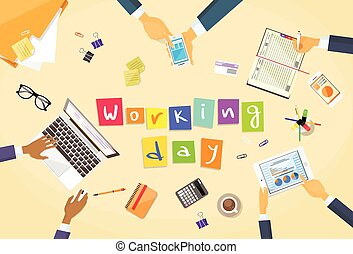 Business People Hands Desk Workplace Team Working Day...