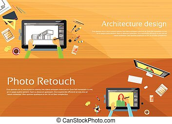 Architecture Designer Workplace Desk Big Digital Tablet...