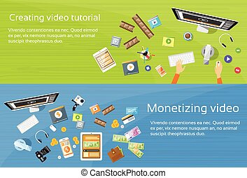 Video Editor Desk Workplace Web Banner Set Flat Vector...